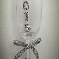 2015 New Year Bling Champagne flutes, Silver Crystals, Holiday champagne flutes, toasting glasses, party champagne glasses