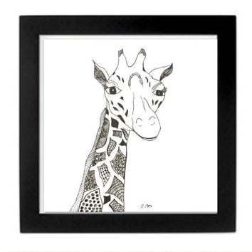 Giraffe drawing, nursery art, nursery decor, Animal drawing, pen and ink Zentangle, Black and white, matching wall art, great gift