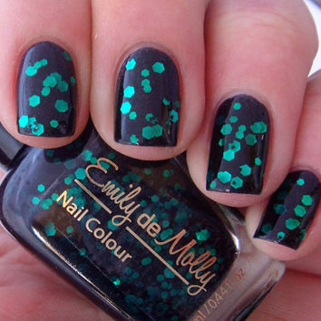 "Nail polish - ""Black Forest"" emerald green glitter in a black jelly base - new 12ml bottle"