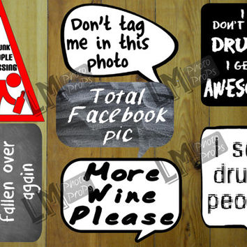 Party Photo Booth Props Pack 1 - 7 signs - Add some Comedy to your next event! INSTANT DOWNLOAD DIY Printable Craft