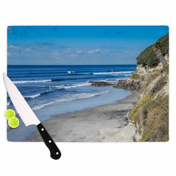 "Nick Nareshni ""Swamis Beach Coast"" Blue Coastal Cutting Board"