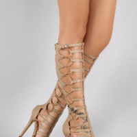 Women's Liliana Elastic Caged Gladiator Knee High Platform Heel