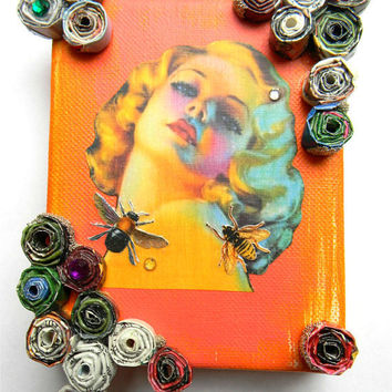 Pin-Up, Vintage Woman on Orange Canvas with Bee's Assemblage Art, Mixed Miedia Collage