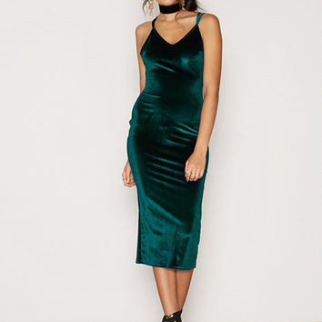 Cross Strap Velvet Dress, NLY One