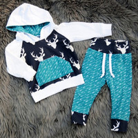 0-5Y fall deer christma Reindeer Newborn infant Toddler Kids children clothing Boy Girl Deer Hooded Tops Pants Outfits Set