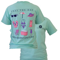 Southern Couture Preppy Seas The Day Beach Flip Flop Comfort Colors Island Reef Girlie Bright T Shirt