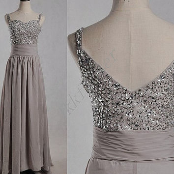 Long Sliver Gray Beaded Bridesmaid Dresses,Long A Line Chiffon Party Dresses,Homecoming Dresses 2015,Foraml Party Grown