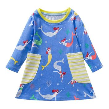 Children Kids Girls Spring Autumn Casual Cotton Long Sleeves Printed Dresses Casual wear Free delivery
