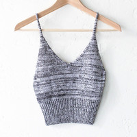 Sweater Knit Crop Top - Black/White