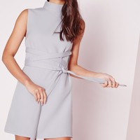 Missguided - High Neck Tie Waist Shift Dress Grey