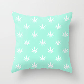 Turquoise Mermaid Mint Cannabis Pot Leaf Pattern Throw Pillow by RexLambo