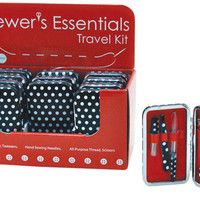 Stitcher's Case Beginners Sewing Travel Kit Crafters Kit Black and White Polka Dots