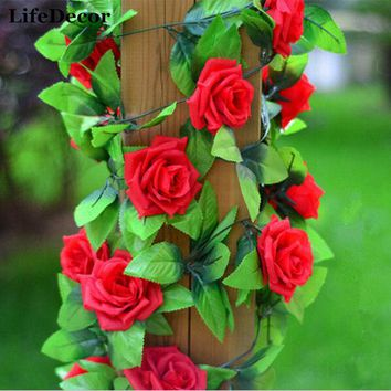 Silk Roses Large Artificial Flowers Garland for Wedding Party Decoration Home Wall Hangings 2.4m Fake Flower Green Leaf Vines