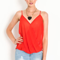 WRAPPED CHIFFON CAMI TOP