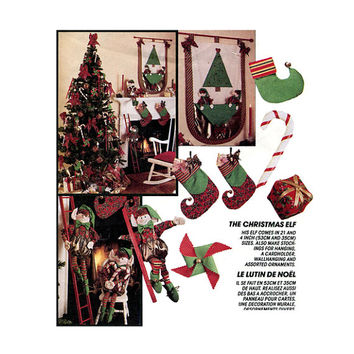 "CHRISTMAS ELF Pattern 21"" & 14"" Elf Doll Elf Stockings Wallhanging Candy Cane Ornaments McCalls 6100 UNCuT Holiday Craft Sewing Patterns"