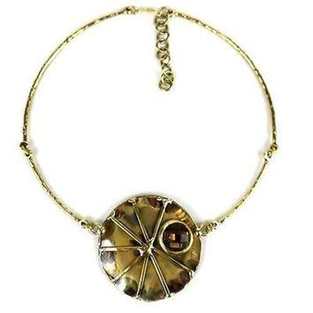 Crystal Sunburst Brass Necklace - Brass Images (N)