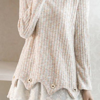 White Long Sleeve Knitted Top Lace Dress