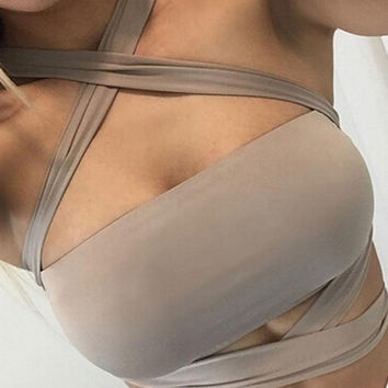 Women Bandage Bra Cross  Tank Tops