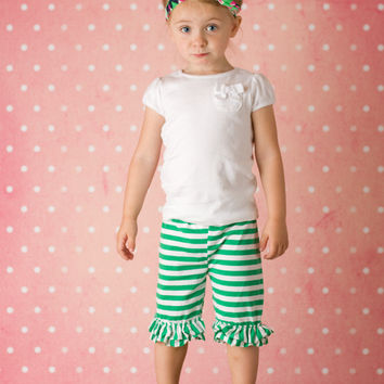 Green & White Stripes Double Ruffle Shorties Shorts - Infant & Baby Sizes!