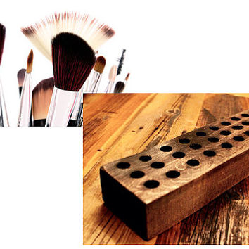 Rustic Brush Holder, Colorado Pine, Custom Brush Organizer, Artists Brush Holder, Makeup Brush Holder