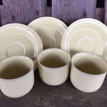 Set of 3 Vintage Nancy Calhoun pastel yellow cup and saucers, vintage 1980s dish set, pastel china, retro kitchen dish set, pastel dishes