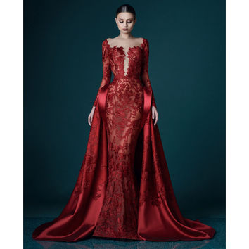 Red See-through Backless Lace Mermaid Evening Dresses with Peplum Deep V-Neck Long Sheer Sleeves Sweep Train Satin Evening Gowns