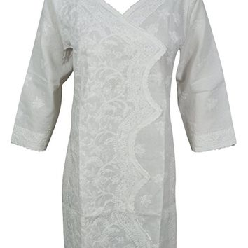 Mogul Interior Womans White Tunic Handmade Chikan Floral Embroidered Cotton Summer Indian Kurta Dress
