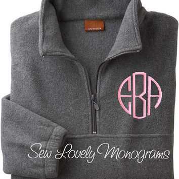 Personalized Quarter-Zip Fleece Jacket. Monogram Pullover. Bridesmaid Gift. Groomsmen Gift. Monogrammed Unisex Jacket. FREE MONOGRAMMING.