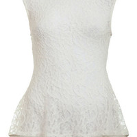 Cream Fishtail Lace Top. - Tanks, Camis & Bandeaus -Tops- Apparel