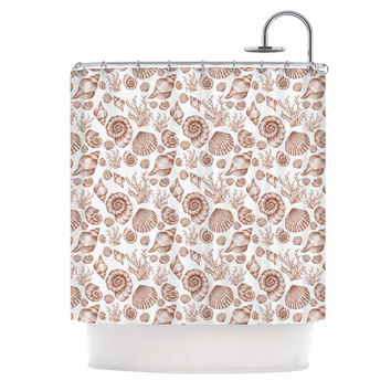 "Alisa Drukman ""Seashells"" Brown Nature Shower Curtain"