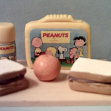 Two Barbie Miniature Vintage Style Lunch Box Sets Peanuts Gang And Archie And Friends