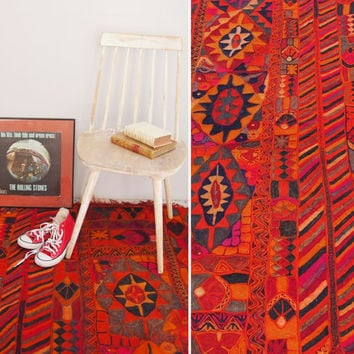 Vintage Kilim Rug - Handmade Pink Orange Red Rug - Traditional Hand Woven Wool Kilim Rug