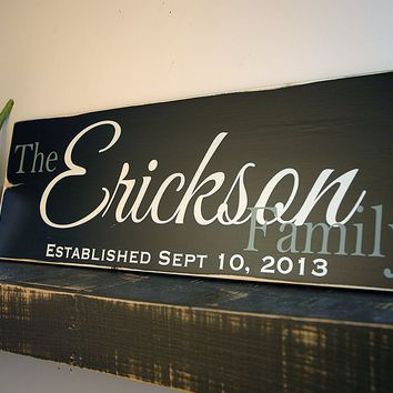 Rustic Family Established Sign, Personalized Wedding Gift, 18x7