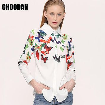 White Blouse Shirt Elegant Floral/Butterfly Print Blouse Women 2017 New Spring Autumn European Long Sleeve Blouses Female Tops
