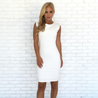 Pure Love Ruffle Back White Dress