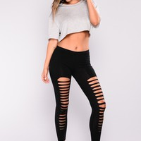Slit Up Basic Leggings - Black