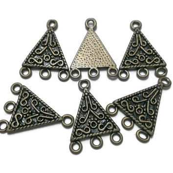 Chandelier Triangle Bohemian Charms, Antique Bronze, Pendants, Tribal Connectors, Findings Bracelet earrings, DIY jewelry - Proceeds Charity