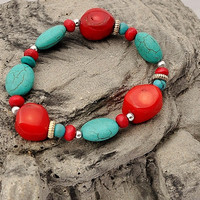 Boho Tribal Bracelet, Ethnic Jewelry, Boho Chic, Boho Fashion, Turquoise Bracelet,Coral Bracelet, Tribal Gypsy, Tribal Chic
