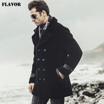 New men's Real fur coat Wool fleece jacket male trench coat Genuine leather jacket