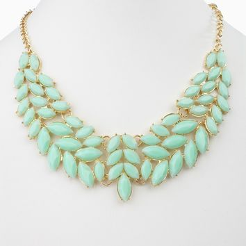 Mint Green Enamel Leaf Bib Statement Neckalce/Earring Set