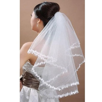 Cathedral White/Ivory Single Layer Large Wedding Dress Gown Ceremony Bridal Head Veil Elbow Length Satin Edge Headwear Accessory TS1010 [7982980103]
