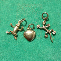 3 Sterling Charms Silver Lizard Frog Heart Gecko BMA 925 Stamped Slide Pendant Necklace Bracelet Reptile Wiccan Love Jewelry Vintage Gift