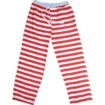 Boxer Shorts |  Red and white striped men's cotton pyjama pajama pants Sant and Abel - Designer Men's and Women's Boxer Shorts