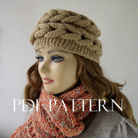 KNITTING HAT PATTERN Braided Hat Easy to make pdf pattern Instant Pattern Winter Hat