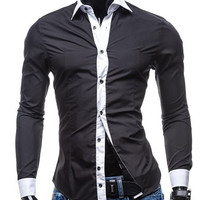 Color Block Button-Down Shirt Collar Long Sleeve Shirt