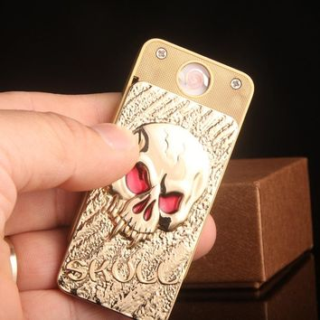 1pc Personality Fashion Skull Shape Environmental Protection Metal Wind-proof Cigarette USB Lighter with USB Cable