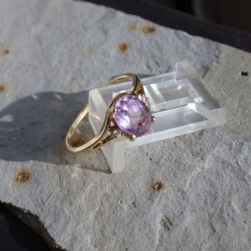 Ladies Amethyst Diamond Ring 10k oval February birthstone lavender pale purple stone  10% OFF coupon in item detail