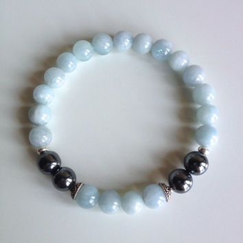 Astrology ~ Aquarius Sign ~ Genuine Aquamarine & Hematite Bracelet w/ Sterling Silver Spacers and Caps
