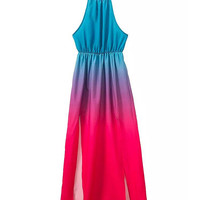 Blue and Pink Gradient Halterneck Maxi Dress with Side Slit