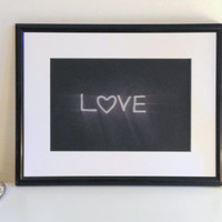 Love - white on black - DIN A4 - Wall Art Print handmade written - original by misssfaith